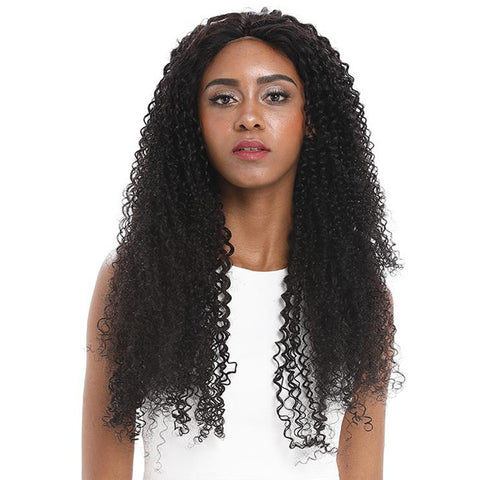 Rebecca Fashion 13x4 Lace Frontal Wigs Kinky Curly 100% Human Hair 180% Density Natural Black Color