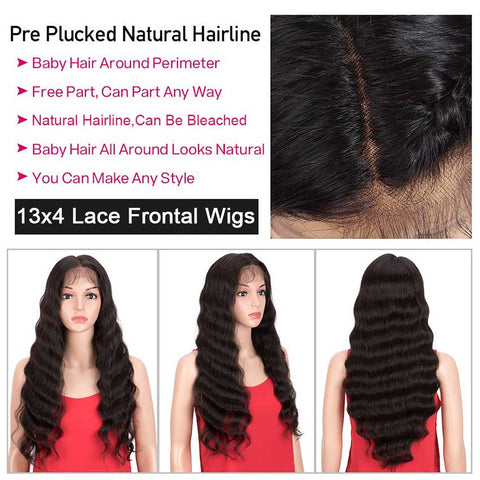 Rebecca Fashion 13x4 Lace Front Wigs Human Hair Loose Body Wave Wigs 150% Density Natural Black Color