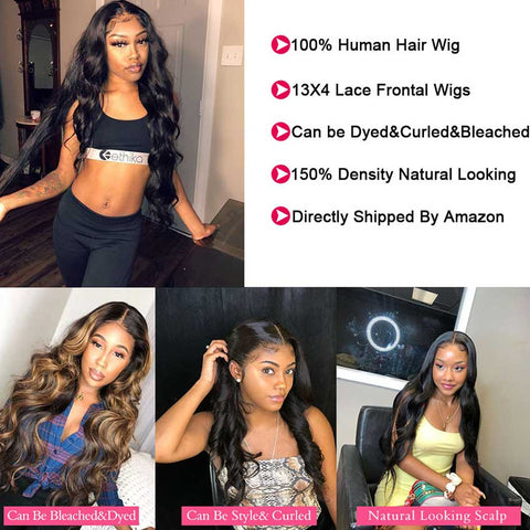 Image of 13x4 Lace Front Wigs Human Hair Loose Body Wave Wigs 150% Density Natural Black Color
