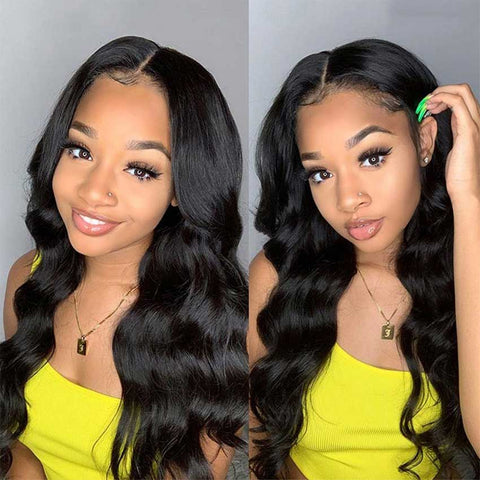 13x4 Lace Front Wigs Human Hair Loose Body Wave Wigs 150% Density Natural Black Color