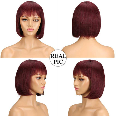 Image of Rebecca Fashion Bob Wig Short Human Hair Red Wigs With Bangs