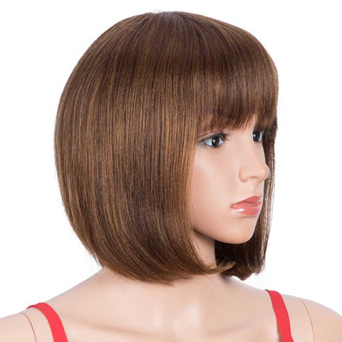 Rebecca Fashion Short Bob Human Hair Wigs with Bangs For Black Women