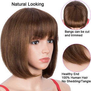 Human Hair P4/30 Color Wig Short Bob Wigs With Bands