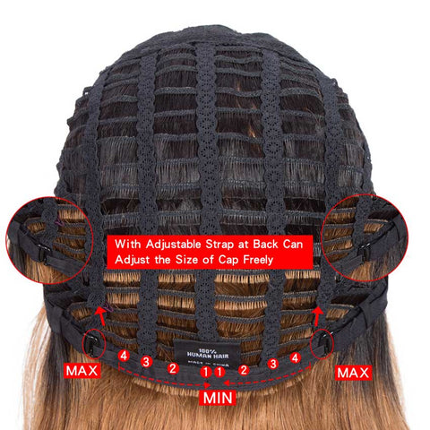 Ombre Wig Basic Cap Wig T1B/30 Straight Wigs With Bangs Human Hair