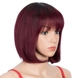Short Bob Wigs with Bangs Human Hair Wig