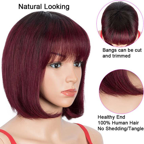 Image of T1B/99J Short Bob Wig Straight Hair Wigs With Bangs For Sale