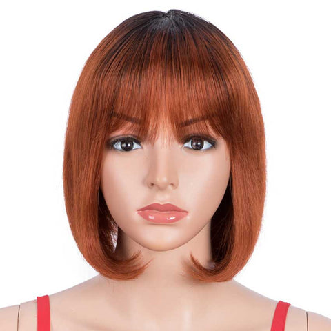 Image of Straight Hair Bob Wigs TT1B/350 Ombre Wigs With Bangs Human Hair