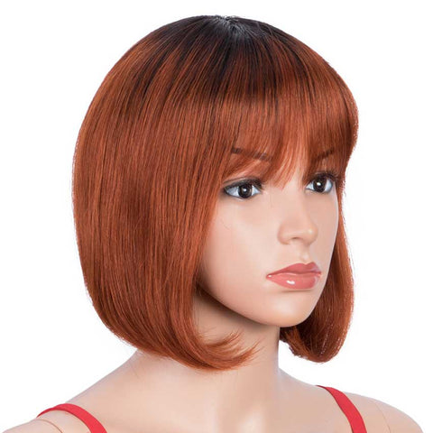 Short Bob Human Hair Wigs with Bangs For Black Women