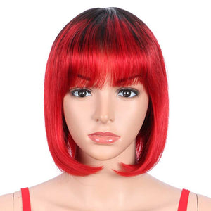 Basic Cap Straight Bob Wigs Ombre Short Wigs With Bangs TT1B/RED