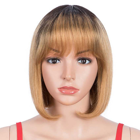 Straight Hair Wigs 130% Density Wigs With Bangs Ombre Wig TT1B/27