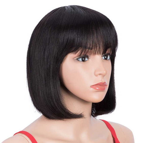 Image of Short Bob Human Hair Wigs with Bangs For Black Women