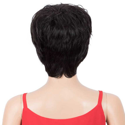 Pixie Cut Wigs Short Wavy Human Hair 1B Wigs for Black Women 9 inch