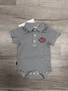 Striped Collar Onesie with Seal