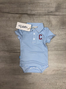 "Striped Collar Onesie with ""C"" - Blue Stripe"