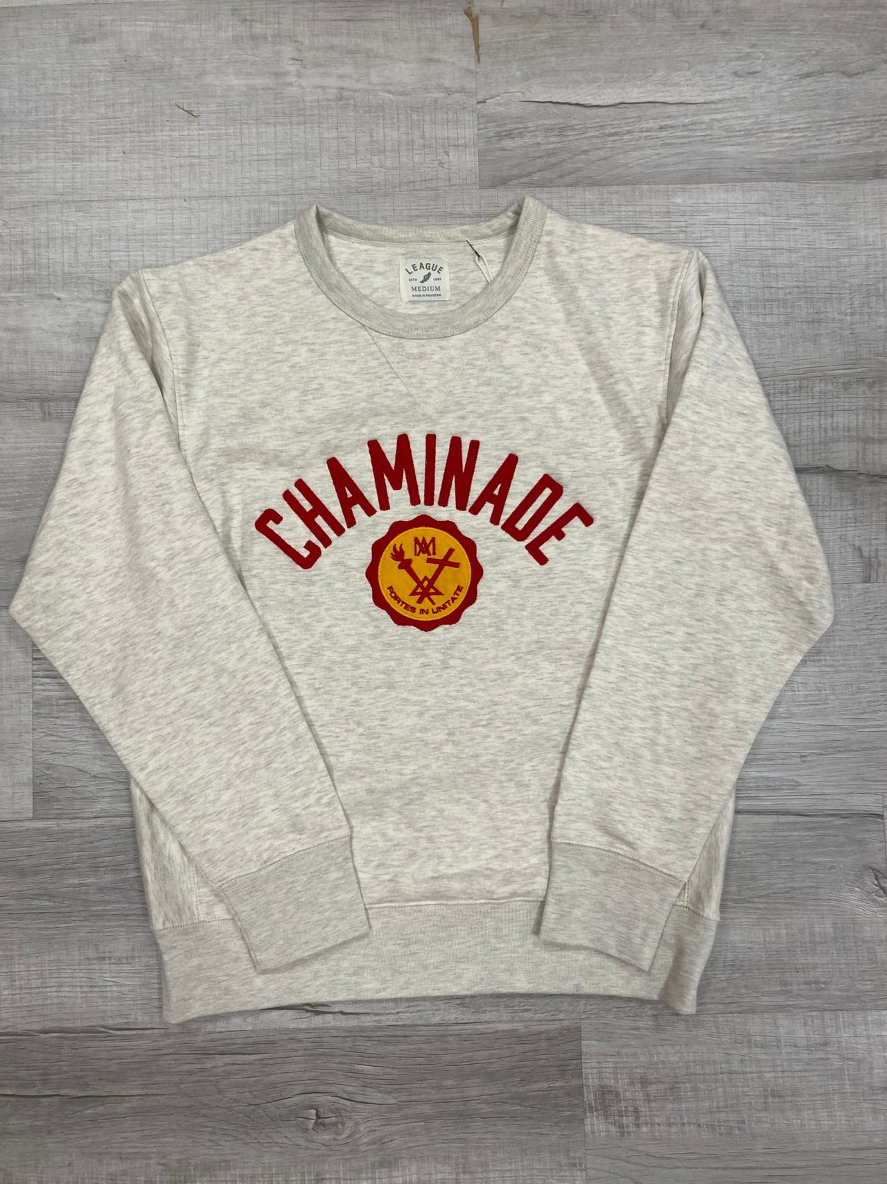 Legacy Embroidered Crew Neck Sweatshirt in Oatmeal