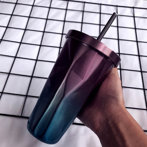 Double Layer Stainless Steel Rhombus Straw Cup
