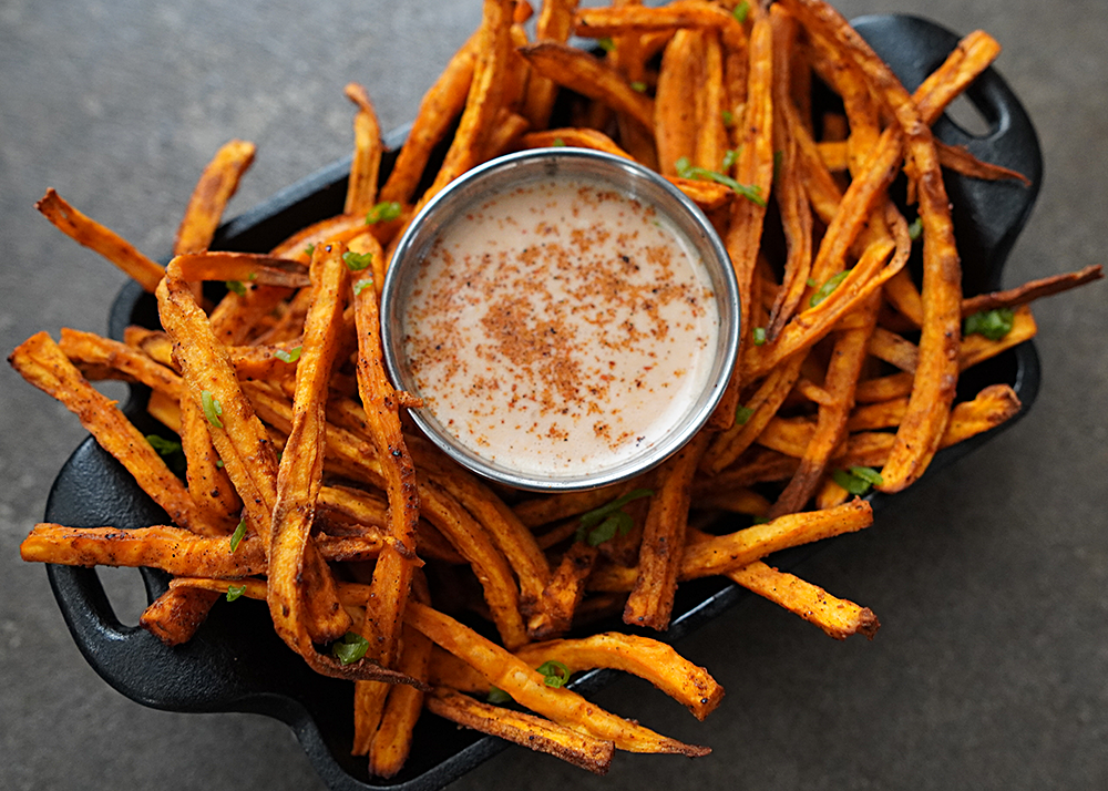 Air Fryer Sweet Potato Fries With Hot Honey Chipotle Dipping Sauce