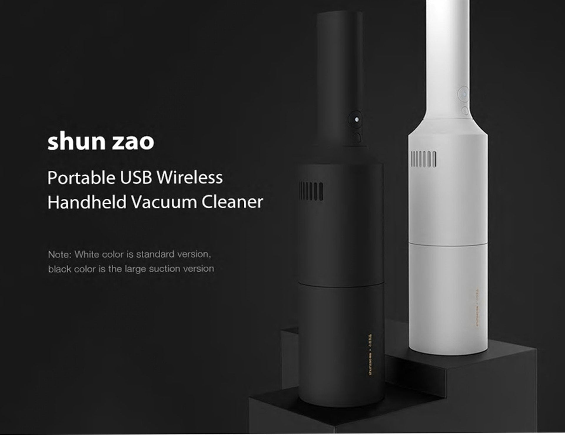 Portable Handheld Vacuum Cleaner USB Wireless Charging Large Suction Version - Black