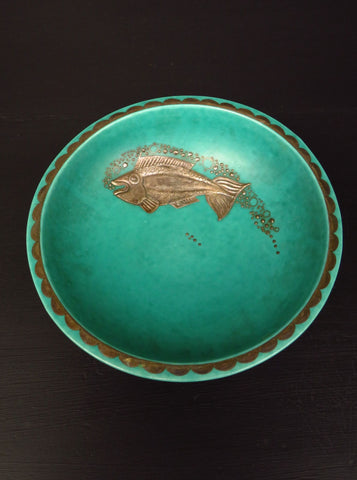 Wilhelm Kåge for Gustavsberg, Swedish Argenta green bowl decorated with fish