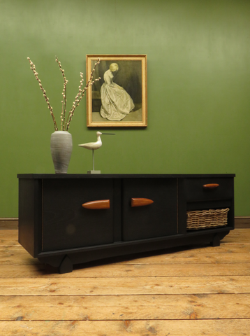 Vintage Mid Century Black Painted Sideboard