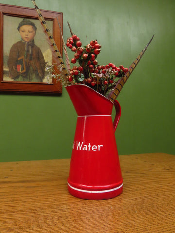 Red Enamel Hot Water Jug from Germany