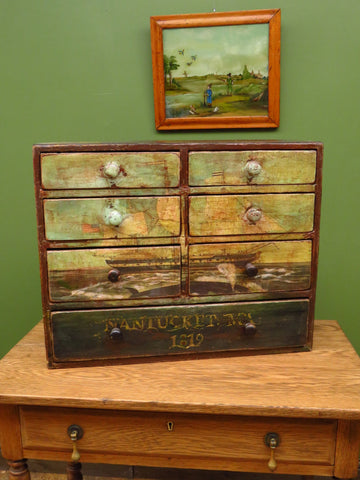 Antique Table Top Drawers Painted with Decoupaged Nantucket Whaling Scene