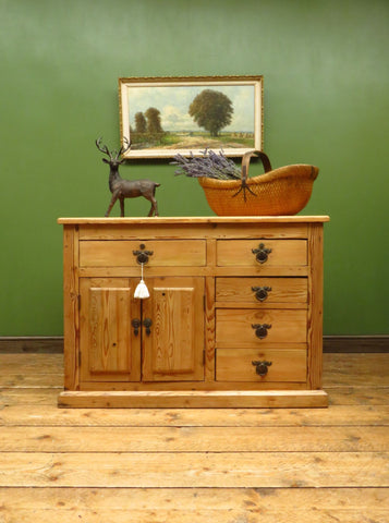 Unusual Antique Victorian Rustic Pine Sideboard Kitchen Island