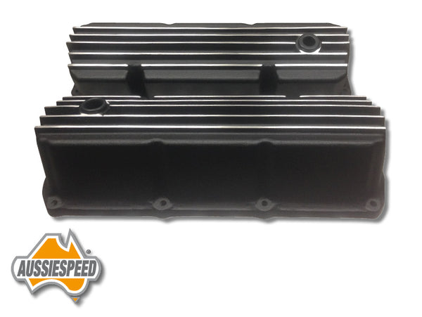 AS0026B Aussiespeed V8 Ford Cleveland Finned Big Black Valve Covers