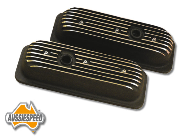 AS0034B Chevy V6 Aussiespeed 4.3 Tall Valve Covers Wrinkle Black Finish