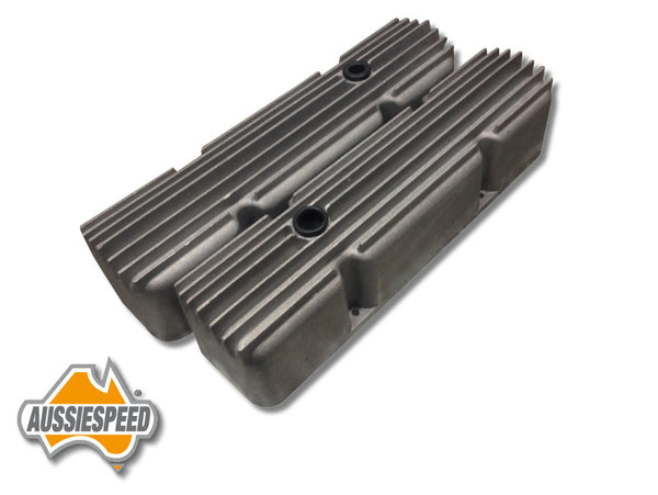 AS0058R Aussiespeed Chevrolet Small Block Valve Covers Hot Rod Style Super Tall Raw Finish