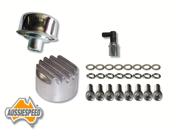 AS0523-0035-SS507-AS0196P Slant 6 Valiant Rocker Cover Bolts Finned Oil Cap Plus PCV Valve Polished