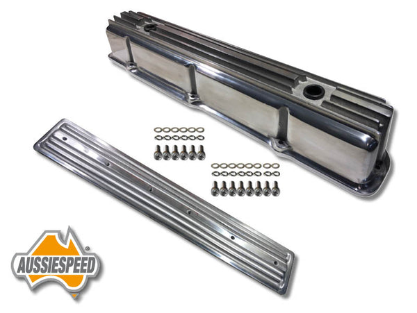 AS0544P-AS0436P Ford 240 300 3.9 Inline 6 Tall Aluminium Valve Cover Side Plate Polished Finish  4 Piece Kit