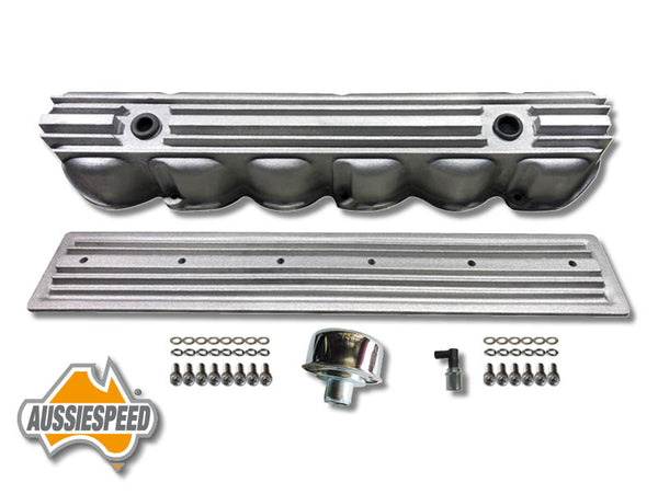 AS0544R-AS0436R Ford 240 300 3.9 Inline 6 Tall Aluminium Valve Cover Side Plate Raw Finish 6 Piece Kit