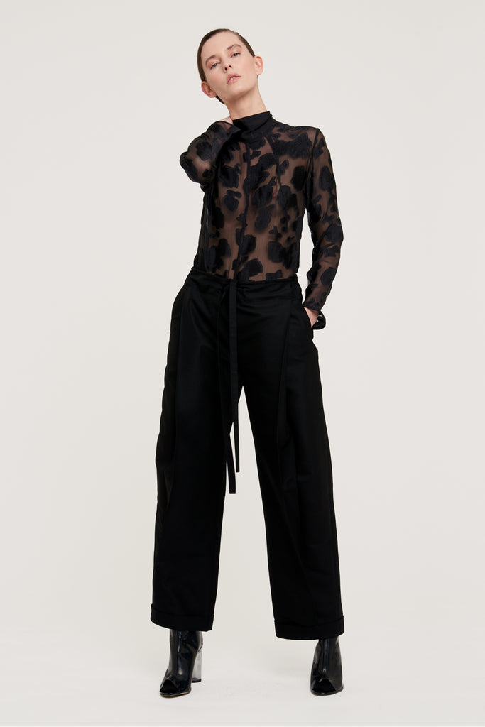 High waist fold trousers