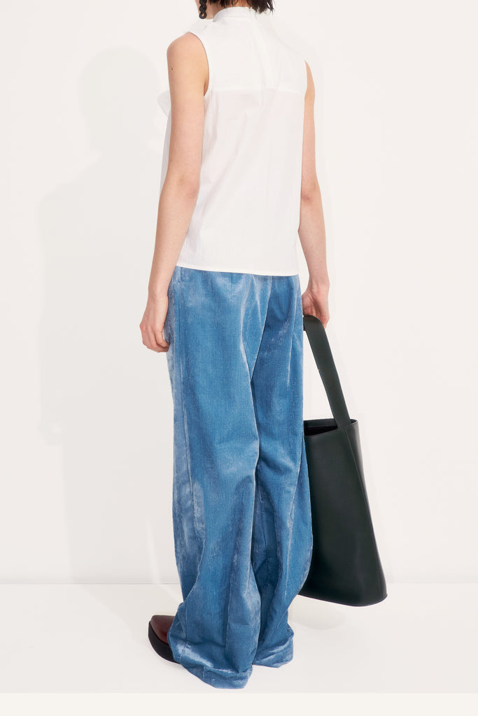 Wide leg corduroy velvet trousers with pleats at waist