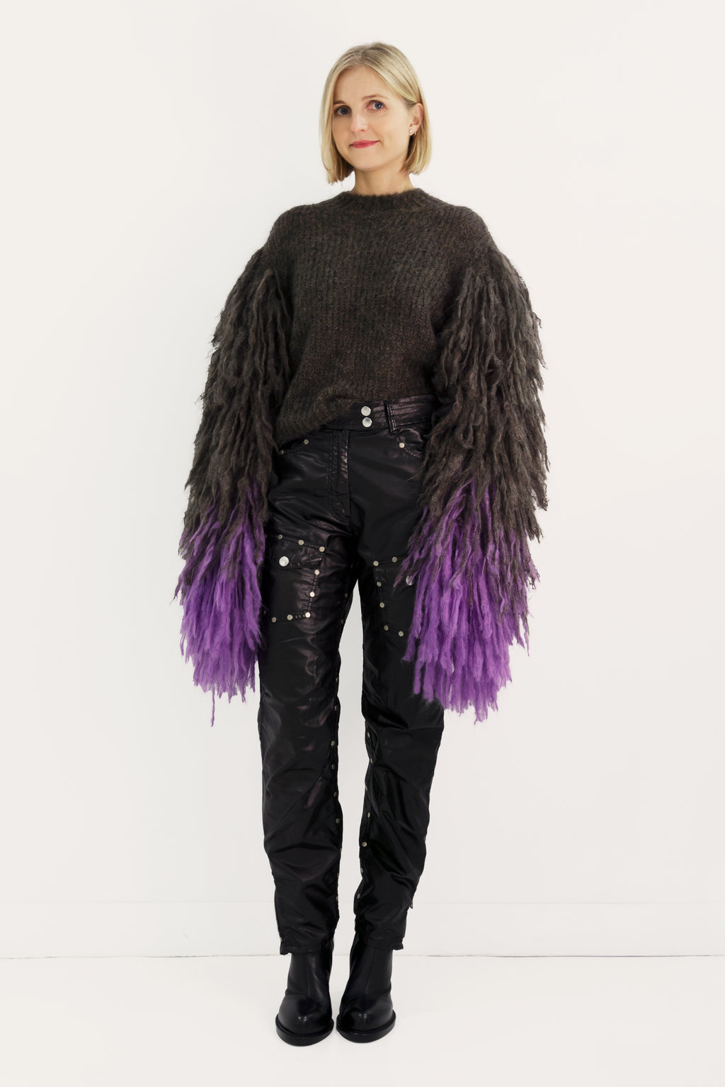 Mohair Sweater with Fringes Sleeves