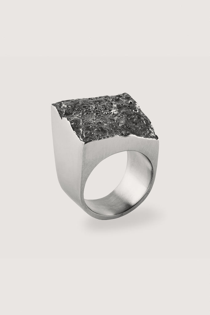 Large signet ring with a pyrite imprint