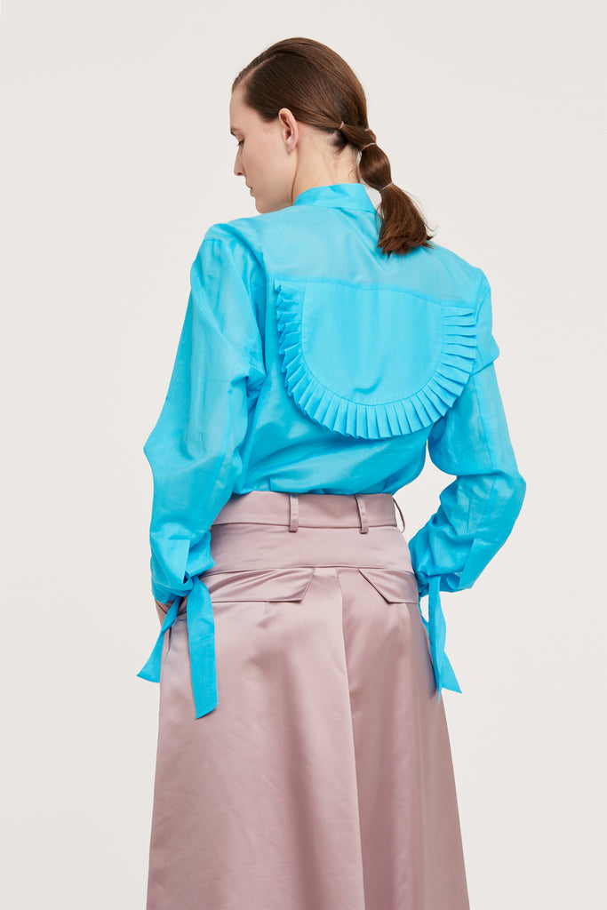 Cotton shirt with frills