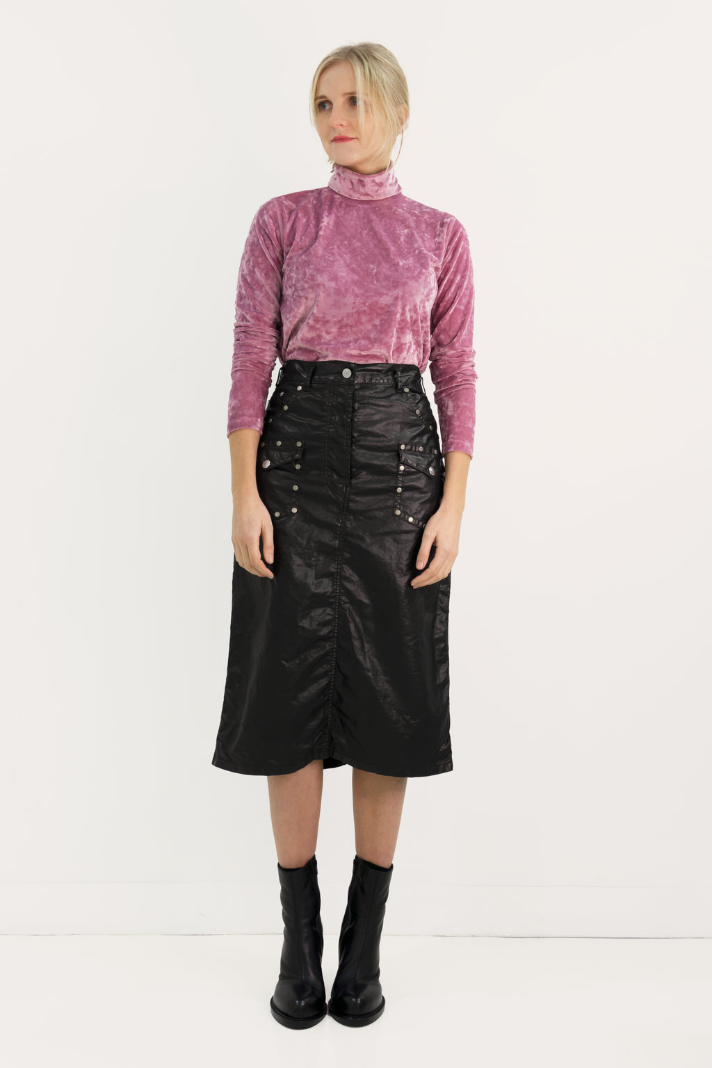 Rivets Waxed Cotton skirt
