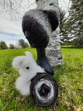 Black, White and Gray Variegated LOPI Alpaca Yarn