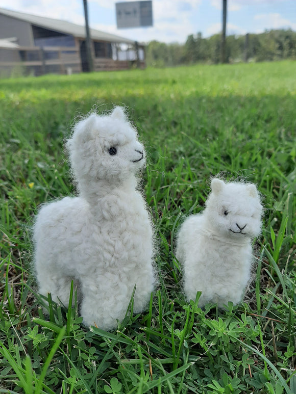 White Needle Felted Alpaca Figurines