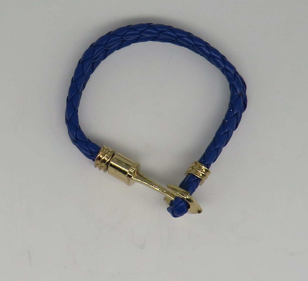 Unisex Leather Handmade Braided Cuff Anchor Bangle Bracelet Wristband Blue-Gold