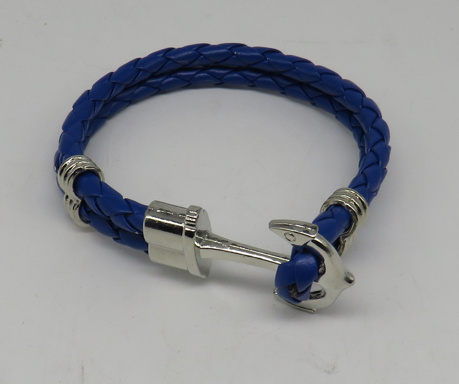Unisex Leather Handmade Braided Cuff Anchor Bangle Bracelet Wristband Blue-Silver