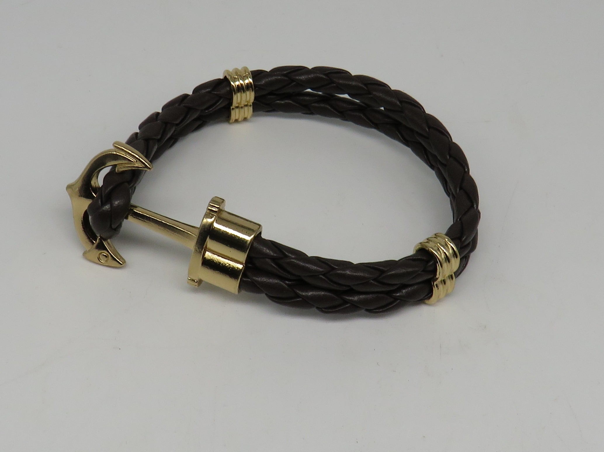 Unisex Leather Handmade Braided Cuff Anchor Bangle Bracelet Wristband Dark Coffee-Gold