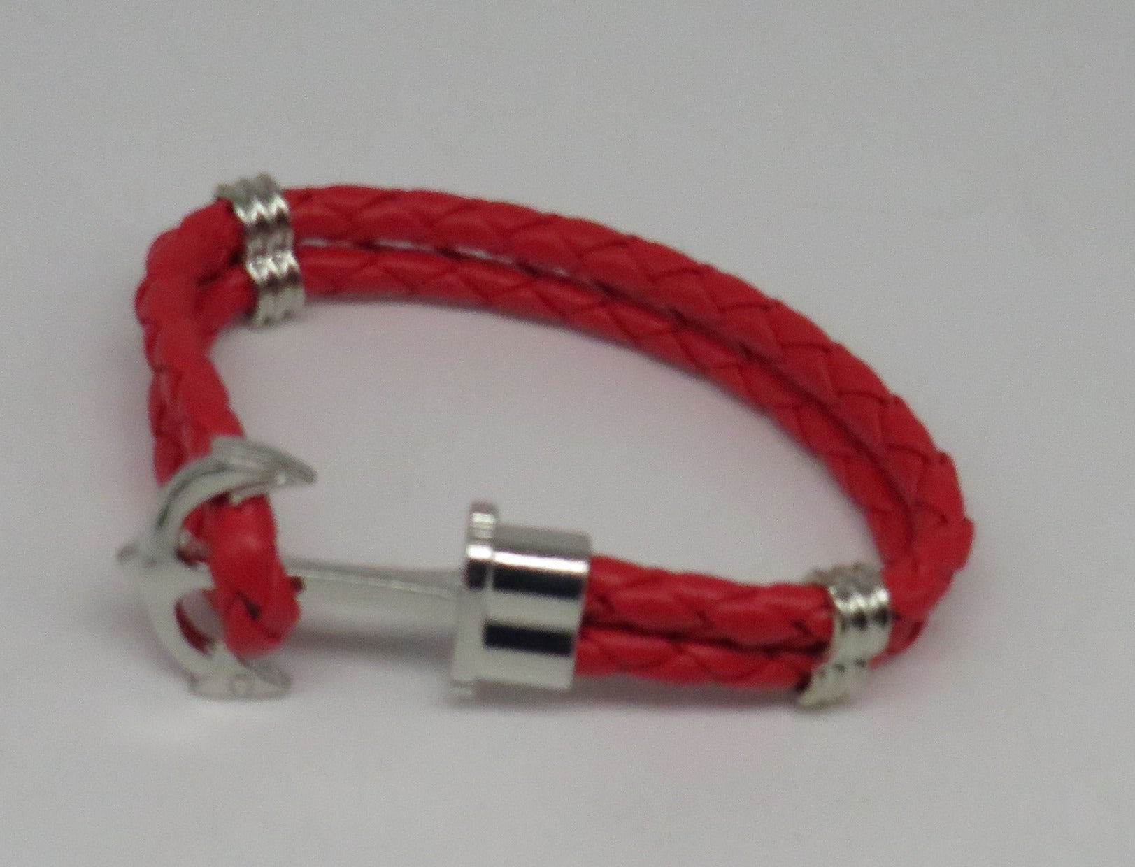 Unisex Leather Handmade Braided Cuff Anchor Bangle Bracelet Wristband Red-Silver