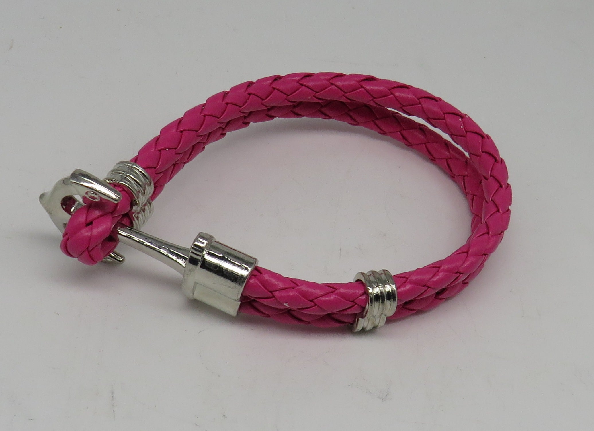 Unisex Leather Handmade Braided Cuff Anchor Bangle Bracelet Wristband Rose Red-Silver