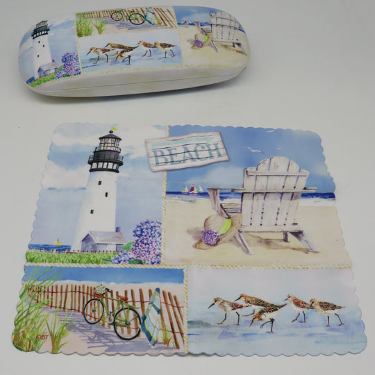 Cape Shore Coastal Collage Eye Glass Case With Matching Lens Cloth