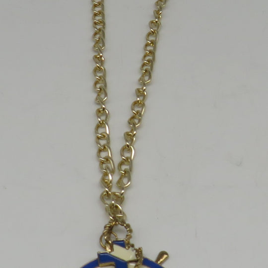 Navy Blue & White Anchor & Ships Wheel Charm Necklace (Gold Plated)
