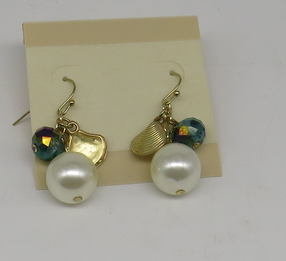 Gold Shell, Pearl and Bead Dangle Post Earrings