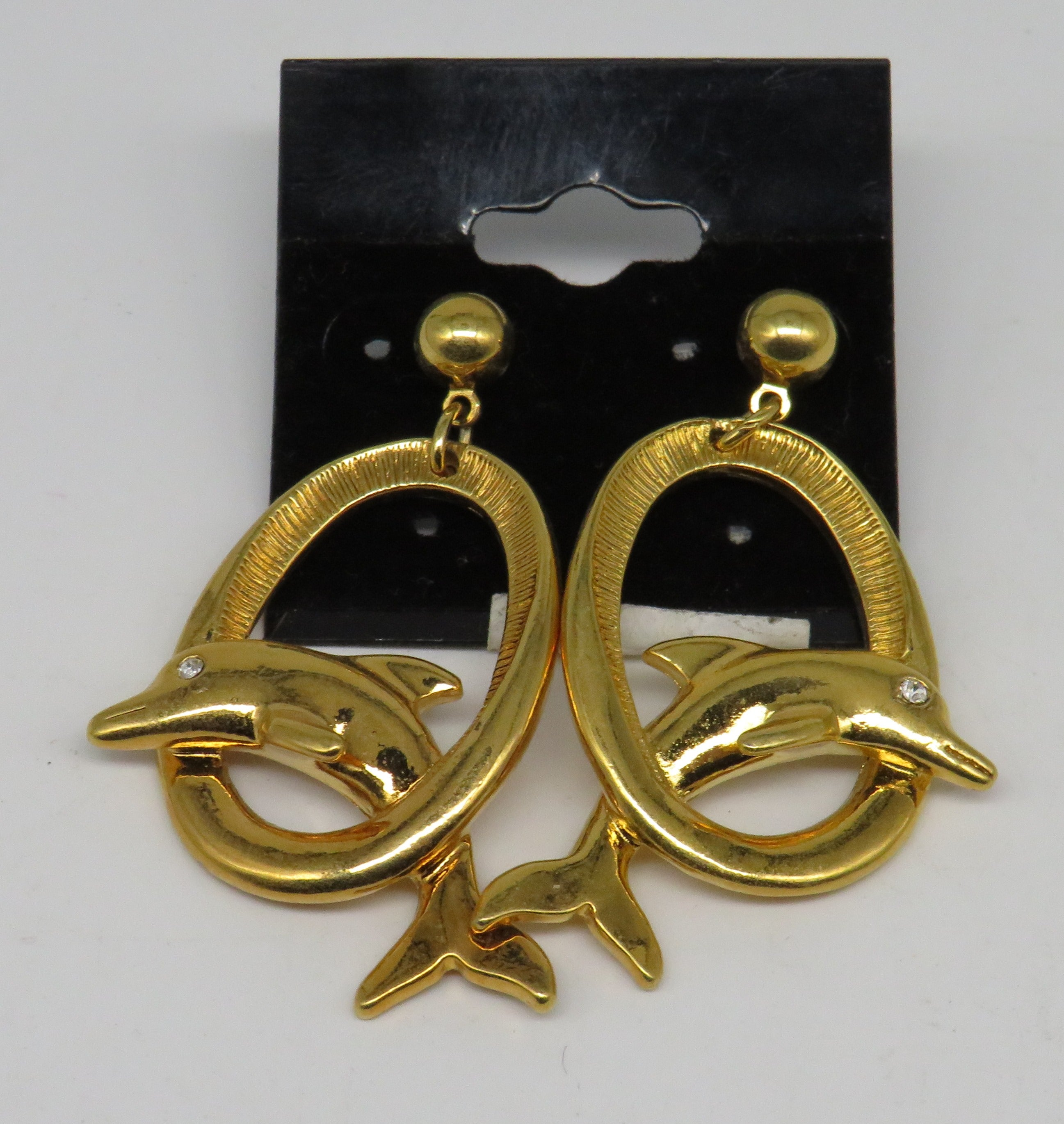 Gold Dolphins Jumping Hoops Dangle Earrings
